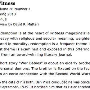 "Witness XXVI.2 (""Redemption"") Reviewed on New Pages"