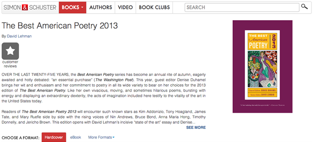Rooney Poem Included in Best American Poetry 2013