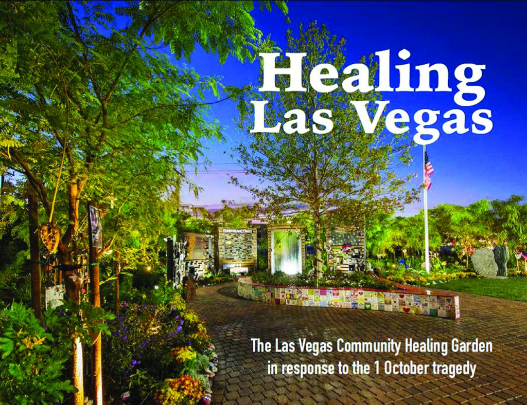 Cover image for Healing Las Vegas (2019), a book of photos and oral histories collected by UNLV about the 1 October and the subsequent creation of the Healing Garden in Downtown Las Vegas.